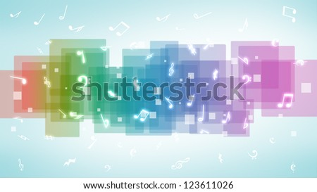 Abstract music notes background - stock photo