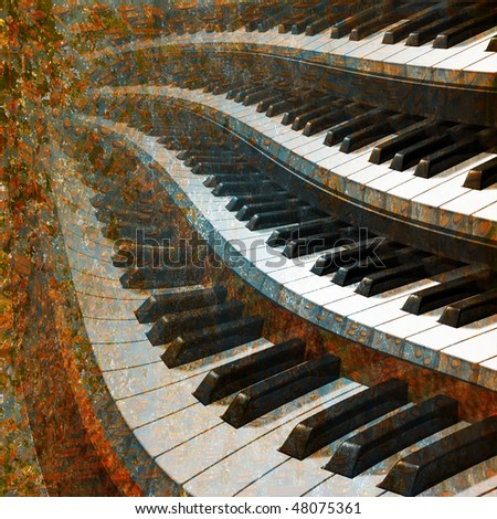 abstract musical background piano - stock photo