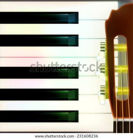 abstract musical background with acoustic guitar and piano - stock photo