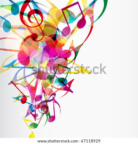 Abstract musical background with bright flying up notes and other musical signs. - stock photo