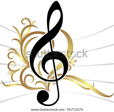 Abstract musical background with treble clef. (raster copy) - stock photo