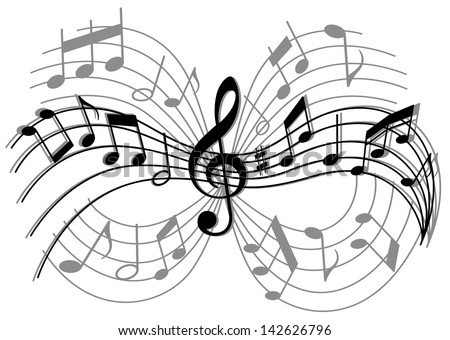 Abstract musical composition with music elements and notes. Jpeg version also available in gallery  - stock photo