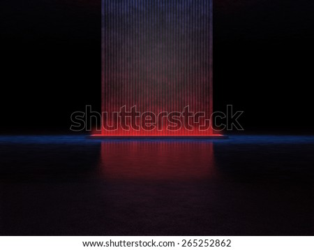 Abstract mysterious structure in a dark space illuminated by red  light