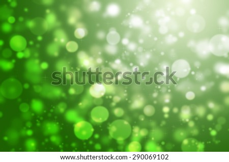 Abstract Natural Glitter Snowflake Green Light Bokeh Texture Background