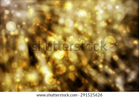 Abstract Natural Glittering Snowflake Gold Light Bokeh Texture Background - stock photo