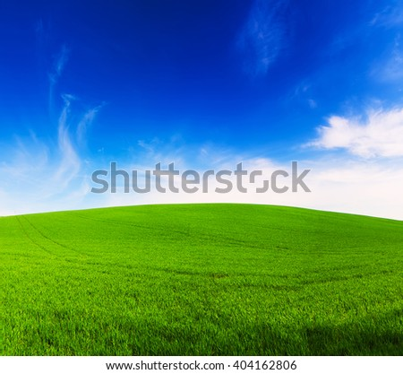 Abstract natural idyllic background with green grass and cloudy blue sky - stock photo