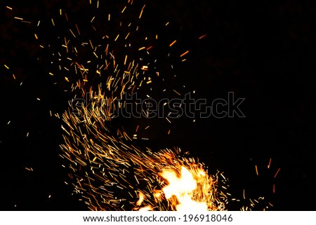 Abstract nature : long exposure photo of fire camp sparkles - stock photo