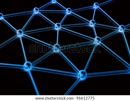 Abstract network blue metal - stock photo