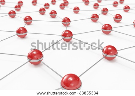 Abstract network made out of connected red balls - stock photo