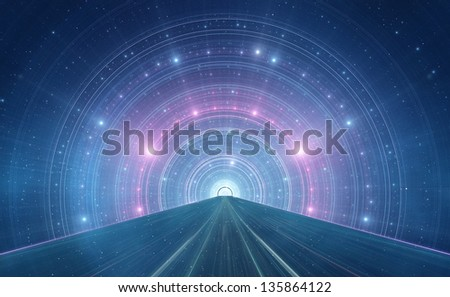 Abstract new age space background - intergalactic highway, space travel - stock photo