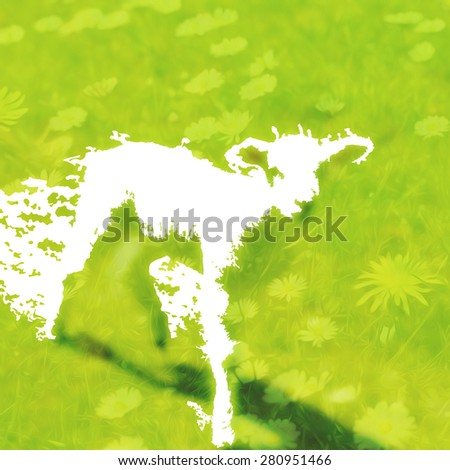 Abstract new Spring Lamb illustration created from negative space on fresh green meadow background with flowers and grass - stock photo