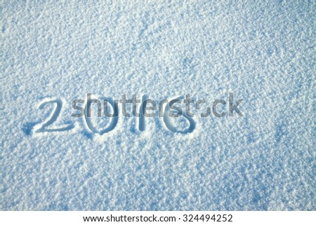 abstract  New Year's and Christmas background from snow.text  2016