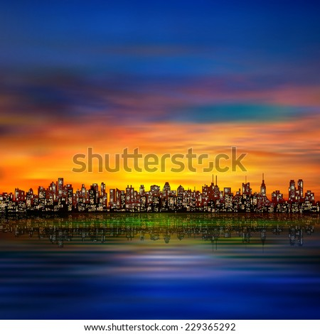 abstract night background with silhouette of city and golden sunset - stock photo