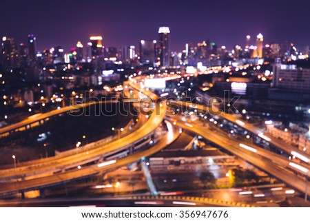 Abstract night city - stock photo