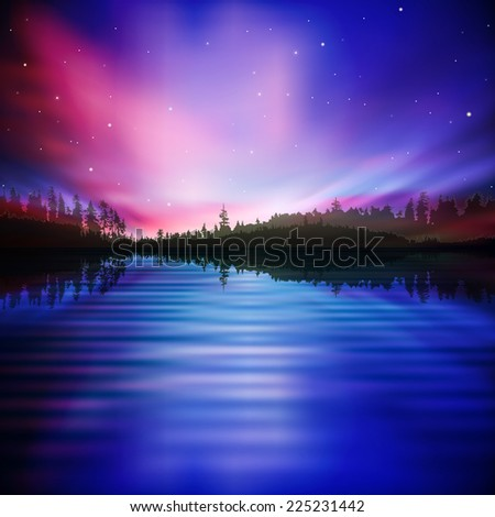 abstract night nature background with pink sunrise - stock photo