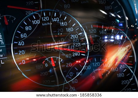 Abstract night racing illustration with blurred lights and speedometers - stock photo
