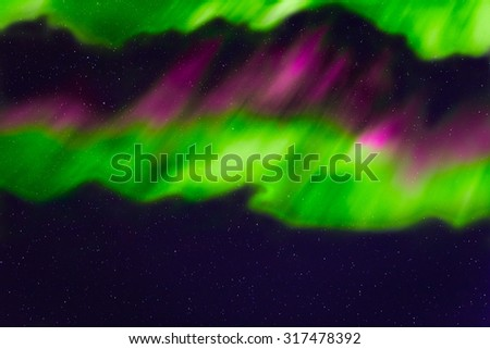 abstract night sky with stars and aurora background - stock photo