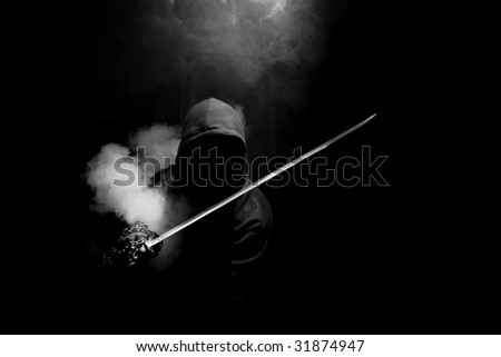 abstract ninja warior - stock photo