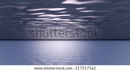 Abstract ocean view at night with clouds and light glow