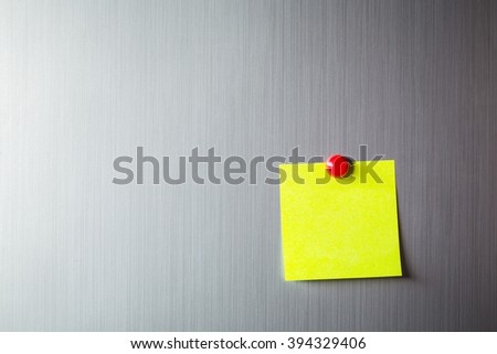 Abstract of Blank paper and stick paper on refrigerator door. paper note copy space with magnet - stock photo