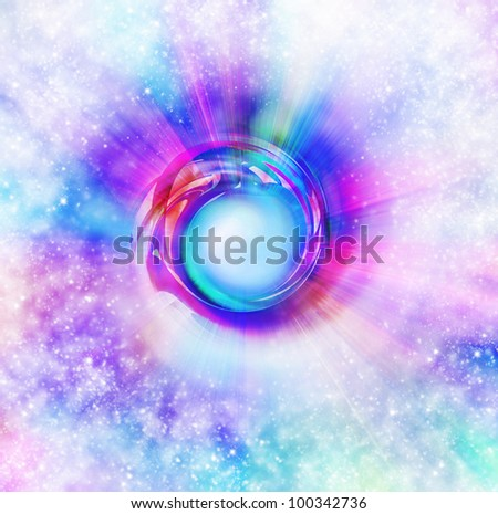 abstract of circle ,spectrum of lighting in space - stock photo
