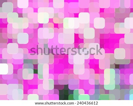 Abstract of city lights in the evening, with rounded squares overlapping for illusion of three dimensions - stock photo