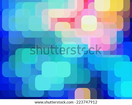 Abstract of city lights, with rounded squares overlapping for illusion of three dimensions - stock photo