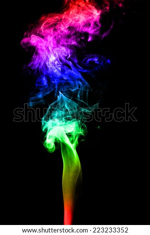 Abstract of color smoke on black background.  - stock photo
