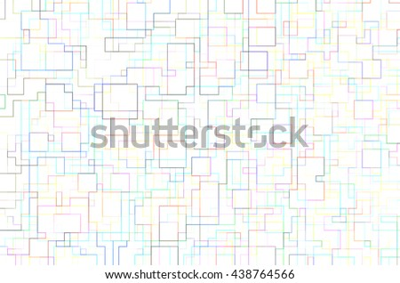 Abstract of colored outlines of overlapping squares and rectangles on pure white background, like blueprints for a floor plan or network, for themes of organization,  interrelationship, complexity