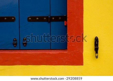 Abstract of colorful window and shutter details