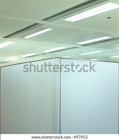 abstract of corner cubicle - stock photo