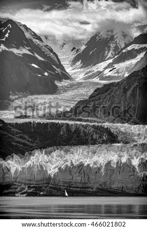 Abstract of tidewater terminus of Margerie Glacier, with a sailboat nearby, on a summer afternoon in Glacier Bay National Park and Preserve, Alaska, with digital painting effect in black and white