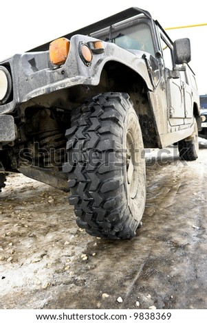 Abstract off road black car a wheel - stock photo