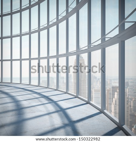 abstract office with big window - stock photo