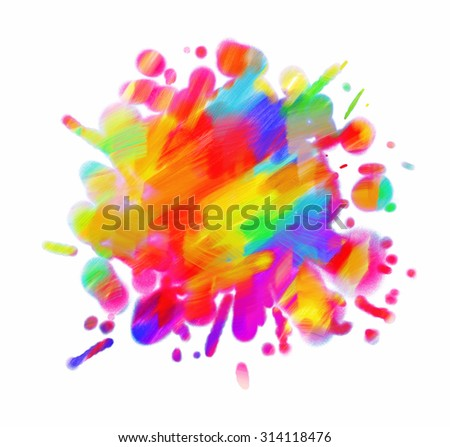 Abstract oil painting. Blot. Blurred spot. Blob. Freehand drawing. Conceptual illustration. Isolated on white background - stock photo