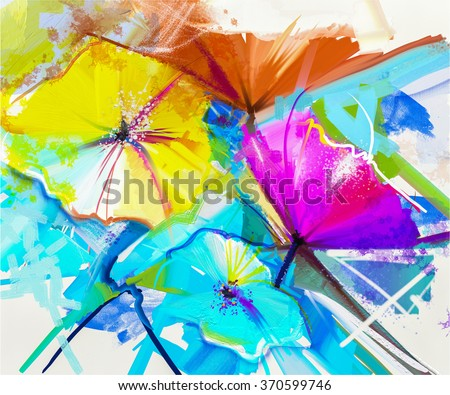 Abstract oil painting colorful of spring flower. Still life of yellow, pink and red gerbera. Bouquet flowers with light yellow, green and blue background. Hand Painted floral Impressionist style - stock photo