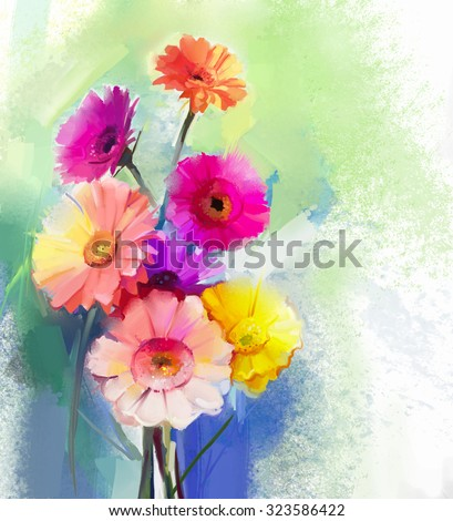 Abstract oil painting of spring flower. Still life of yellow, pink and red gerbera. Colorful Bouquet flowers with light green-blue color background. Hand Painted floral modern Impressionist style - stock photo
