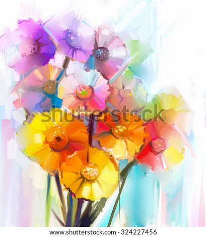Abstract oil painting of spring flower. Still life of yellow, pink and red gerbera. Colorful Bouquet flowers with light blue color background. Hand Painted floral modern Impressionist style - stock photo
