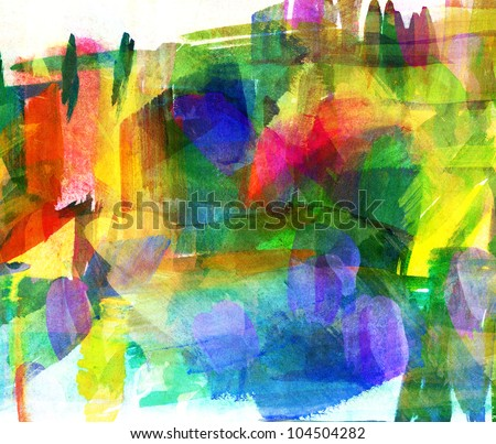 Abstract oil painting. Smeared spot. Freehand drawing - stock photo