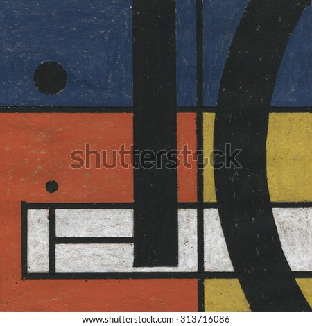Abstract oil pastel painting artwork. Abstract painted background, texture. Art color design with geometric shapes. Handmade illustration on rough grungy paper. White, black, yellow, red and blue. - stock photo