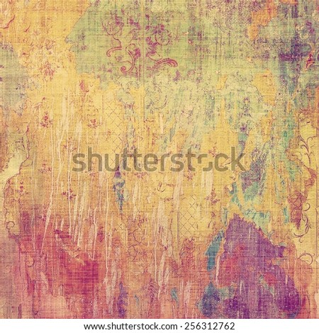 Abstract old background with rough grunge texture. With different color patterns: yellow (beige); purple (violet); pink; green - stock photo