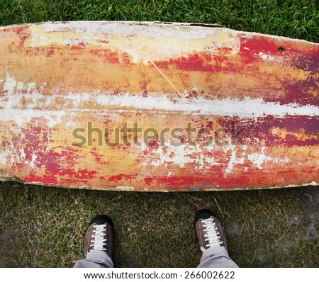 Abstract old surf board background - stock photo