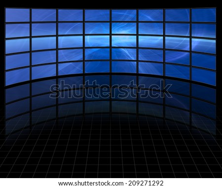 Abstract on Large Set of Screens - stock photo