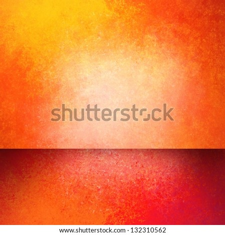 abstract orange background gold red corner design, banner sidebar footer web design template, empty room or box display showcase for product ad brochure layout, rough vintage grunge background texture - stock photo