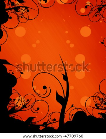 abstract orange background with a vintage pattern on it