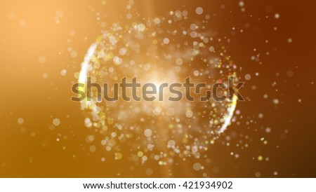Abstract orange background with circular shape formed of small particles. Light ray effect - stock photo