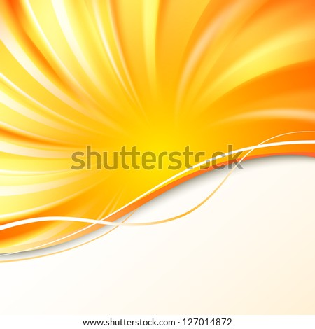 Abstract orange cover with smooth lines Illustration. - stock photo
