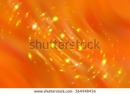 Abstract orange elegant background with glitter and waves