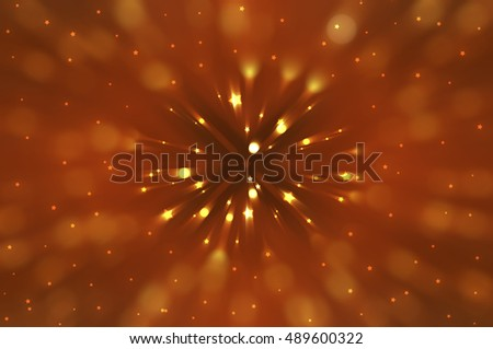 Abstract orange fractal composition. Magic explosion star with particles. motion illustration.