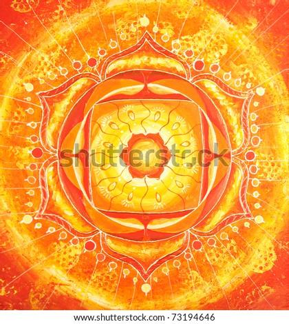 abstract orange painted picture with circle pattern, mandala of svadhisthana chakra - stock photo